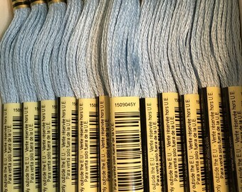 DMC 827 Very Light Blue Embroidery Floss 2 Skeins 6 Strand Thread for Embroidery Cross Stitch Needlepoint Sewing Beading