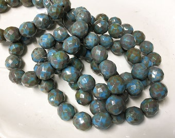 Faceted Sky Blue Opaque Fire Polished Czech Glass Rounds with Picasso Finish 12mm 15 beads