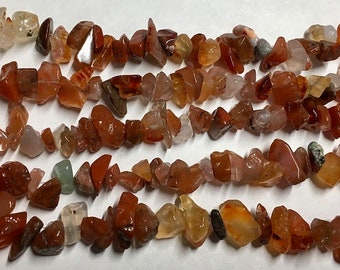 Clearance Carnelian Chips Gemstone Nugget Chipstone Beads Sizes Vary 8 Inch Strand