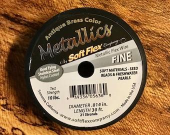 Antique Brass Soft Flex 21 Strand Metallic Flex Fine Beading Wire .014 inch Diameter 30ft.