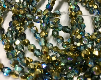4mm Blue Green Gold Luster AB Finish Czech Glass Fire polished Crystal Beads 50 beads