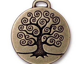 1 TierraCast Antique Bronze Tree of Life Pendant 26.5mm x 23.5mm