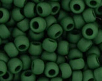 8/0 Opaque Frosted Pine Green Toho Glass Seed Beads 2.5 inch tube 8 grams TR-08-47HF