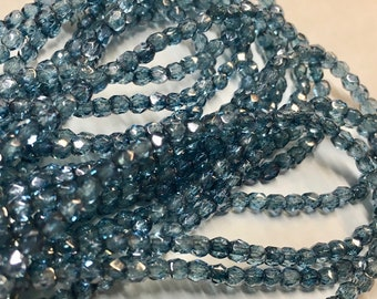 50 Celestial Blue Transparent Czech Glass Firepolished Crystal Beads 3mm Approx 50 beads