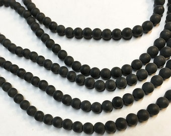 Black Onyx Smooth Matte Rounds 4mm 8 inch strand Approx 45 pcs per strand