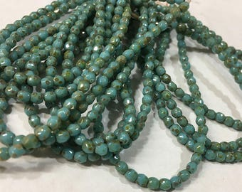 Blue Turquoise Picasso Czech Glass Firepolished Crystal Beads 3mm 50 beads