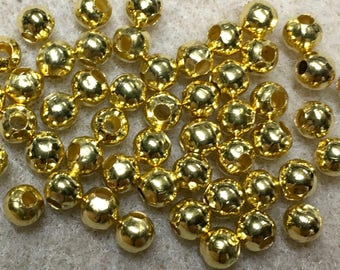 50 Gold Plated Smooth Round Beads 4mm Made in the USA F454B