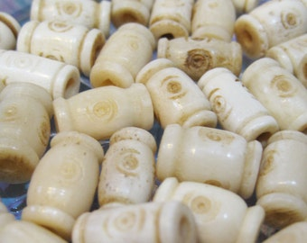 6 Bone Beads Natural Carved Designs 15mm