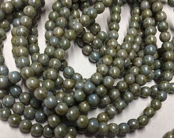 Green Gray Turquoise Picasso Czech Pressed Glass Round Druk Beads 4mm 50 beads