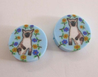 Siamese Cat Adorable Fimo Polymer Clay Round Disc Beads 15mm 10 beads