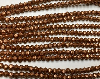 Matte Metallic Bronze Copper Czech Pressed Glass Tiny English Cut 3mm Approx. 50 beads
