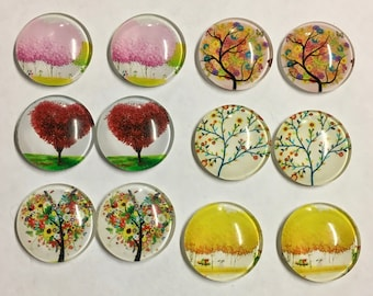 12 Assorted Tree Nature Flat Back Glass Dome Cameo Jewelry Cabochon Pendant 20mm Round 12 pcs
