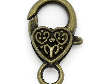 Lobster Clasp Large Antique Bronze Tone Heart Lobster Claw Clasps 26mm x 14mm 5 Clasps F468