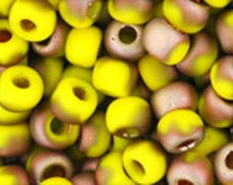 Clearance 6/0 Hybrid Frosted Yellow Sunshine Apollo Toho Glass Seed Beads 2.5 inch tube 8 grams TR-06-Y853F