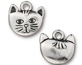 Whiskers the Cat Charm Antique Silver Animal Charm TierraCast Lead Free Pewter 17mm x 12mm 1 pc F563H
