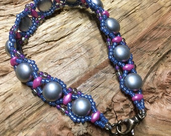 Delicate Cabochons Bead Woven Artisan Made Bracelet by Southpass Beads