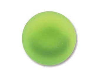 Lime Green Lunasoft Cabochons Luna Soft Lunasilk Round Flat Back Foiled Pendant 2 pcs