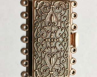 Antique Copper Plated 7 Strand Vintage Style Box Clasp 36x26mm 1 pc F548D