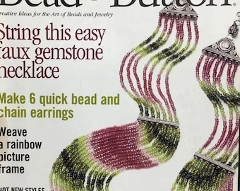 25% OFF Bead and Button Magazine Seaside Charm Necklace Ukranian Netting Crochet Wire Beads Beaded Peyote Stitch Hat Crystal Band June 2003
