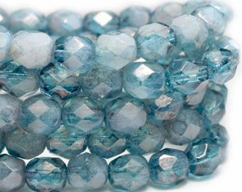 Pale Pacific Blue Crystals 6mm Czech Fire polished Crystal Beads 25 beads