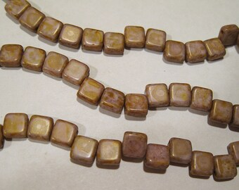 Chalk Lumi Brown Czech Mates Two Hole Tile Beads Czech Pressed Glass Square Beads 6mm