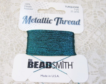 Turquoise Teal Metallic Polyester Thread 2 ply .30mm 25 yards Great with Kumihimo