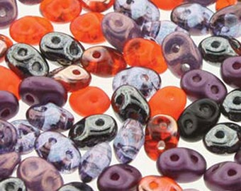 Super Duo Haunting Mix Pressed Glass Super Duo Two Hole Seed Beads 2.5mm x 5mm 12 grams DUO5MIX155