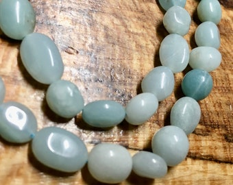 Amazonite Pastel Green Smooth Variable Nugget Gemstone Beads About 8x6mm Approx 23 beads per 8 inch strand