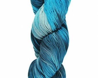 Yumbrel DK Handpainted by Araucania Shades of Blue DK Weight Yarn 218 yards 100% Combed Cotton color 07