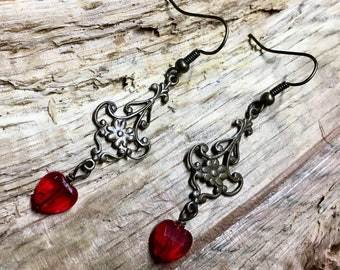 Tiny Hearts Vintage Style Filagree and Glass Tiny Red Heart Earrings