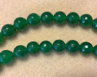 Agate Dyed Green 10mm Faceted Rounds 8 inch Strand Approx 18 beads