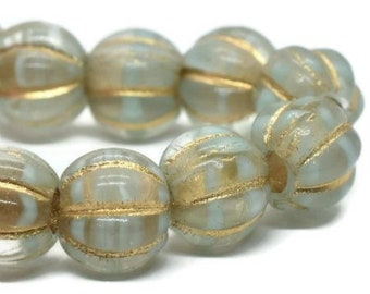 Melon Beads 8mm Large Hole Czech Glass Transparent Glass and Mint with Gold Wash 20 pcs