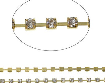 """Clearance Cup Chain Gold Tone Settings with Clear Rhinestones 2 pieces 34"""" and 44"""""""