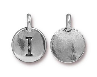 "Letter ""I"" Initial Pendant Tiny Silver Charm TierraCast Antique Silver Alphabet Charms Lead Free Pewter 16.5x11.5mm One Charm F291"