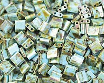 Seafoam Green Matte Picasso Miyuki 5mm Square Two Hole Tila Beads 7.2 grams