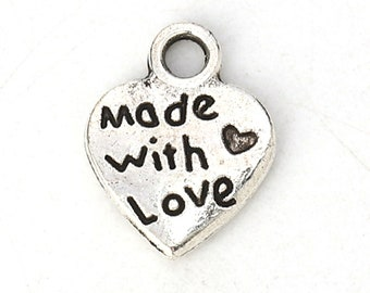 Made With Love Charms Antique Silver Plated Pewter Zinc Alloy Double Sided 12mm x 9mm 10 pcs C163B