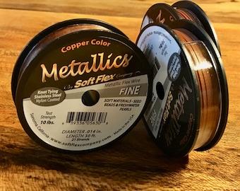 Copper Soft Flex 21 Strand Metallic Flex Fine Beading Wire .014 inch Diameter 30ft.
