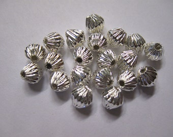 40 Corrugated Silver Plated Bicone Spacer Beads 5mm x 4mm F318
