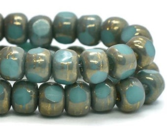 Trica Beads Teal Blue with Bronze Finish Czech Pressed Glass Rondelles Beads 4x3mm 50 beads