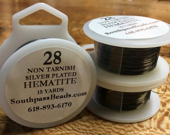 28 gauge Hematite Gunmetal Non Tarnish Copper Craft Wire 15 yards Made in the USA