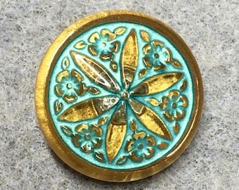Star Flower Turquoise Green Blue Czech Glass Button with Gold Finish and Metal Shank 18mm