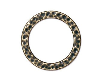Large Hammertone Antique Brass Flat Closed Ring TierraCast Lead Free Pewter 18.8mm