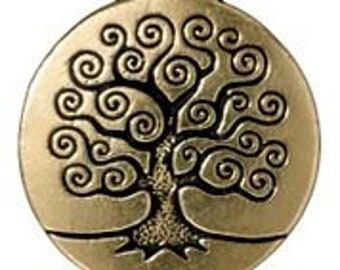 1 TierraCast Antique Gold Tree of Life Pendants 26.5mm x 23.5mm Made in the USA One Pendant F563E