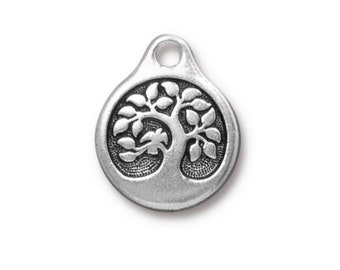 2 Bird in a Tree Antique Silver Charms Double Sided TierraCast Lead Free Pewter 16mm x 19.5mm 2 pcs