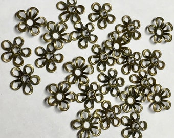 24 Antique Brass Plated Brass Small Floral Cut Out Design Filigree Bead Caps 7mm Made in USA 24 pcs F212