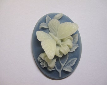 White Butterfly Acrylic Resin Cameo with Blue Background Jewelry Cabochon Pendant 40mm x 30mm