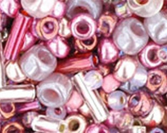 Pink Mix Toho Glass Seed Beads 2.5 inch tube 8 grams TX-01-3215