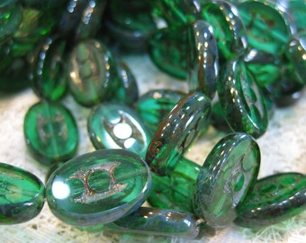 Clearance 10 Emerald Green with Picasso Carved Czech Glass Oval Beads 18mm x 12mm