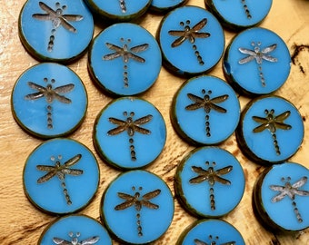 4 Dark Turquoise Blue Chunky Czech Pressed Glass Carved Dragonfly Coin Table Cut Beads with Picasso Finish 17mm