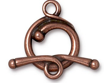 TierraCast Antique Copper Renaissance Style Toggle Clasp Lead Free Pewter One Clasp